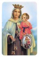 Card Madonna del Carmelo in PVC - 5,5 x 8,5 cm - italiano