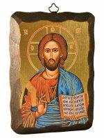 """Icona in  legno da appendere """"Cristo pantocratore"""" - 15 x 10 cm"""