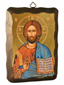 """Copertina di 'Icona in  legno da appendere """"Cristo Pantocratore"""" - dimensioni 15x10 cm'"""