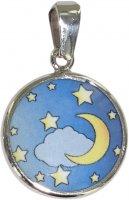 Medaglia Luna in argento 925 e porcellana - 1,8 cm