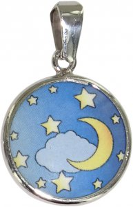 Copertina di 'Medaglia Luna in argento 925 e porcellana - 1,8 cm'