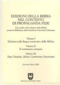 Copertina di 'Edizioni della Bibbia nel contesto di Propaganda Fide. Uno studio sulle edizioni della Bibbia presso la Biblioteca della Pontificia Università Urbaniana'