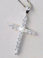 Catenina con croce d'argento stilizzata con zirconi di  su LibreriadelSanto.it