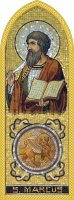 Quadro Evangelista San Marco in legno a cuspide - 10 x 27 cm