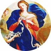 Immagine di 'Adesivo resinato per rosario fai da te misura 3 - Madonna che scioglie i nodi'
