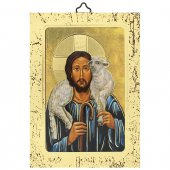 """Icona a sbalzo con cornice dorata """"Gesù Buon Pastore"""" - altezza 14 cm"""