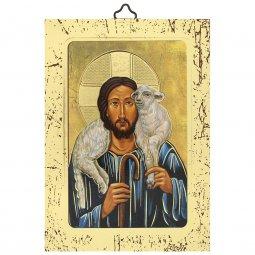 """Copertina di 'Icona a sbalzo con cornice dorata """"Gesù Buon Pastore"""" - altezza 14 cm'"""
