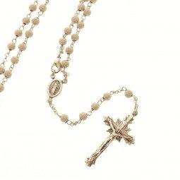 Copertina di 'Rosario collana in argento 925 satinato con grani tondi (astuccio incluso)'
