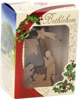 Immagine di 'Presepe a campana in legno d'ulivo per albero di Natale - altezza 8,5 cm'