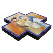 """Immagine di 'Croce in legno con lamina oro """"Sacra Famiglia"""" - dimensioni 12x12 cm'"""