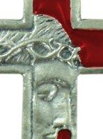Immagine di 'Croce volto Cristo in metallo nichelato e smalto rosso - 3,5 cm'