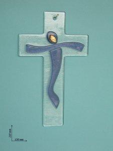 Copertina di 'Croce in vetro con sagoma blu - altezza 21 cm'