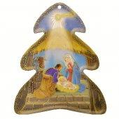 Alberello in PVC da appendere con Natività e preghiera sul retro - dimensioni 11x9 cm