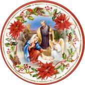 """Piatto natalizio effetto ceramica """"Natività"""" con angelo benedicente - diametro 13 cm"""