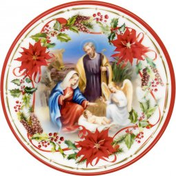 """Copertina di 'Piatto natalizio effetto ceramica """"Natività"""" con angelo benedicente - diametro 13 cm'"""