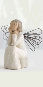 """Copertina di 'Statuetta in resina """"Angelo in meditazione"""" - altezza 10 cm'"""