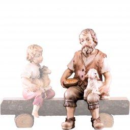 Copertina di 'Pastore seduto con agnello H.K. - Demetz - Deur - Statua in legno dipinta a mano. Altezza pari a 11 cm.'