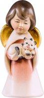 Angelo sognatore con gattino - Demetz - Deur - Statua in legno dipinta a mano. Altezza pari a 16 cm.