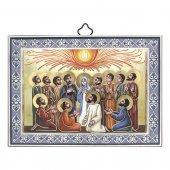"""Icona con cornice azzurra """"Pentecoste"""" - lunghezza 14 cm"""