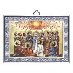 """Copertina di 'Icona con cornice azzurra """"Pentecoste"""" - lunghezza 14 cm'"""