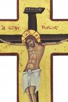 Immagine di 'Croce icona Cristo morente, produzione greca in legno e sfondo foglia oro - 21,5 x 13 cm'