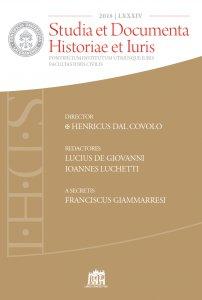Copertina di 'Studia et Documenta Historiae et Iuris 2018'