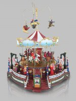 Immagine di 'Villaggio natalizio con giostra in movimento, luci, musica (30 x 33,5 x 27 cm)'