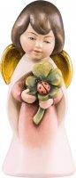 Statuina dell'angioletto con quadrifoglio, linea da 6 cm, in legno dipinto a mano, collezione Angeli Sognatori - Demetz Deur