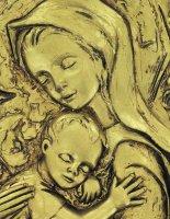 Immagine di 'Quadro Madonna con Bambino ovale in resina dipinta a mano - Bassorilievo - 25,5 x 34 cm'