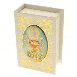 """Copertina di 'Portarosario bianco a forma di libro """"Prima Comunione"""" - altezza 7 cm'"""
