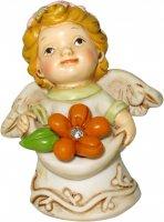 Angelo in resina con fiore arancio da 6 cm