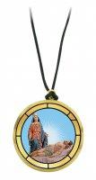 Ciondolo Madonna Addolorata (Castelpetroso)  in legno ulivo con immagine serigrafata - 3,5 cm
