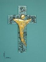 Croce moderna in vetro in oro e nero - altezza 21 cm