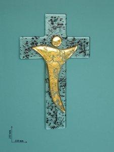 Copertina di 'Croce moderna in vetro in oro e nero - dimensioni 21x13 cm'