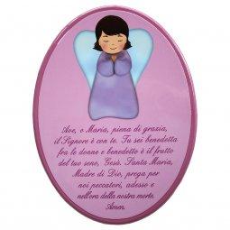 """Copertina di 'Icona ovale rosa """"Ave Maria"""" per bambini - dimensioni 15x21 cm'"""
