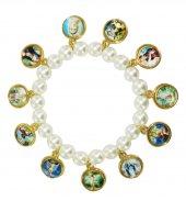 Braccialetto perla bianca con santi