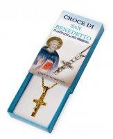 Croce di San Benedetto in acciaio inox dorata con catenina - altezza 3 cm