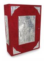 Coprimessale rosso in alcantara con dettagli in argento 925
