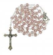 Rosario semicristallo rosa mm 6 con legatura in metallo