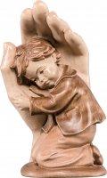 Mano protettrice da poggiare con bambino - Demetz - Deur - Statua in legno dipinta a mano. Altezza pari a 9 cm.