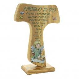 """Copertina di 'Tau in legno d'ulivo con preghiera """"Angelo di Dio"""" - altezza 17 cm'"""