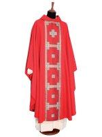 Casula rossa con stolone in pura lana di  su LibreriadelSanto.it