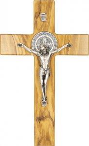 Copertina di 'Croce di San Benedetto in legno d'ulivo e metallo - altezza 18 cm'