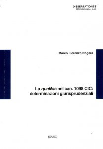 Copertina di 'La qualitas nel can. 1098 CIC: determinazioni giurisprudenziali'