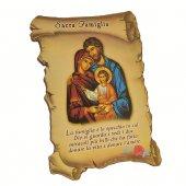 """Quadretto a forma di pergamena con piedino da appoggio """"Sacra Famiglia"""" (10 x 7)"""