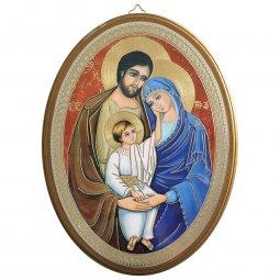 """Copertina di 'Icona ovale laccata oro """"Sacra Famiglia"""" - dimensioni 21,5x16 cm'"""