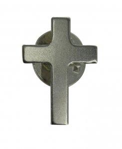 Copertina di 'Crocetta distintivo in metallo liscio nichelato con pin - 2 cm'