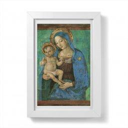 """Copertina di 'Quadretto """"Madonna del Pinturicchio"""" con passe-partout e cornice minimal - dimensioni 15x10 cm'"""
