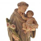 """Immagine di 'Statua sacra in legno colorato dipinto a mano """"Sant'Antonio di Padova"""" - altezza 30 cm'"""
