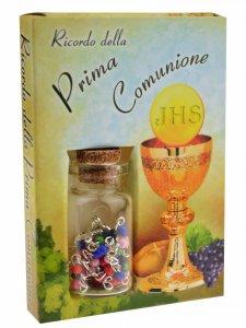 Copertina di 'Scatolina ricordo della comunione con boccettina e coroncina'